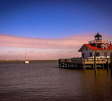 Roanoke Marshes Lighthouse at Dusk by GalleryThree