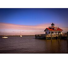 Roanoke Marshes Lighthouse at Dusk Photographic Print