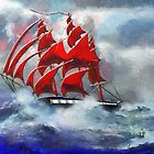 A digital painting of The Clipper Ship Indian Queen in Rough Seas by Dennis Melling