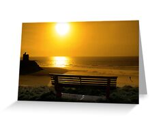 bench with golden sunset view Greeting Card