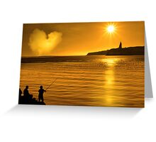 silhouette of father and son loving fishing in Ireland Greeting Card