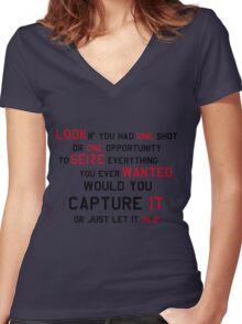 EMINEM MOTIVATIONNAL SHIRT BLACK&RED Women's Fitted V-Neck T-Shirt