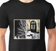 Tree Silhouette and The Old School Door Unisex T-Shirt