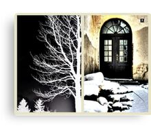 Tree Silhouette and The Old School Door Canvas Print