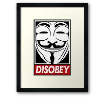 Guy Fawkes Disobey Framed Print