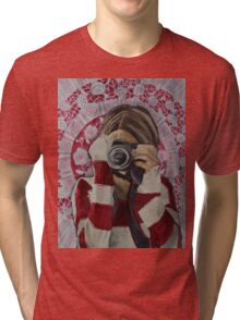 Selfie, watercolor and mixed media on paper Tri-blend T-Shirt