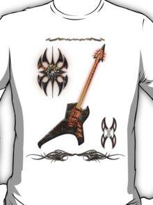 Black Metal Guitar Digital Art T-Shirt