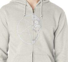 Skull and Pentagram Half and Half Zipped Hoodie