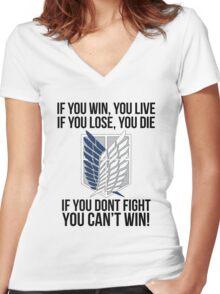 Attack On Titan Eren Shirt Women's Fitted V-Neck T-Shirt