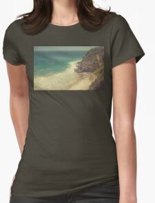 Vintage Malibu Beach Print Womens Fitted T-Shirt