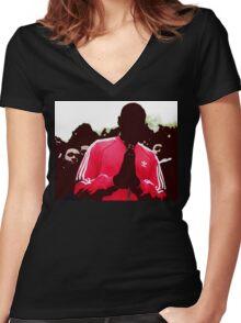 Shut Up design. Women's Fitted V-Neck T-Shirt