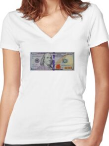 100 dollar bill Women's Fitted V-Neck T-Shirt