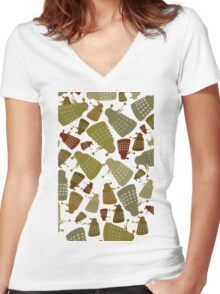 Doctor Who - Mini DALEK Camouflage Women's Fitted V-Neck T-Shirt