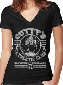 Cutty's Athletic Club Women's Fitted V-Neck T-Shirt