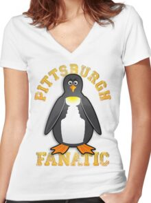 Pittsburgh Fanatic Women's Fitted V-Neck T-Shirt
