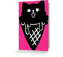 Ice Cream Cone Kitty Black  Greeting Card