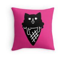 Ice Cream Cone Kitty Black  Throw Pillow