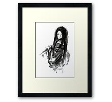 Geisha Geishacreations geisha kimono japan art print women wedding gift modern art abstract art sumi-e geisha girl geisha costume asian women Framed Print