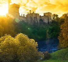 Autumn sunset over Lismore castle and blackwater river by morrbyte