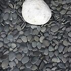 lone white stone amongst many grey pebbles by morrbyte