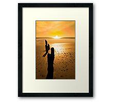 wave breakers at sunset Framed Print