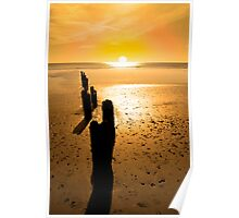 wave breakers at sunset Poster