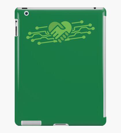 Computer geek love handshake chips iPad Case/Skin