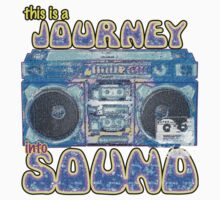 This is a Journey into Sound boombox design. Kids Tee