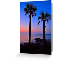 Palm and Moon over Water Greeting Card