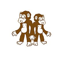 Cute monkey couple couples Photographic Print