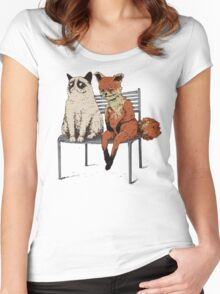Grumpy Cat and Fox Women's Fitted Scoop T-Shirt