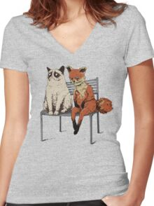 Grumpy Cat and Fox Women's Fitted V-Neck T-Shirt