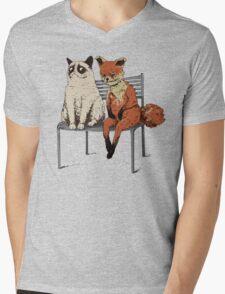 Grumpy Cat and Fox Mens V-Neck T-Shirt