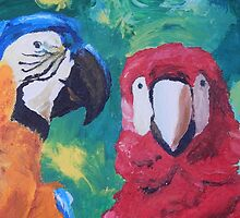 Parrots Love Birds Kiss Closeup - Vertical - iPad by PhoneCase
