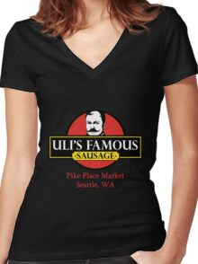 Uli's Famous Sausage, Seattle, Pike Place Market Women's Fitted V-Neck T-Shirt