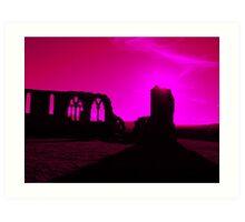 Whitby Abbey, Purple Art Print