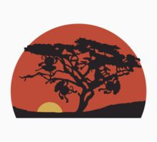 Africa tree sunset monkey T-Shirt