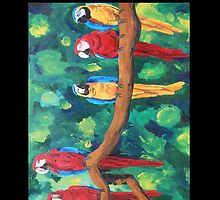 Colorful Red Blue Yellow Parrots - Samsung by PhoneCase