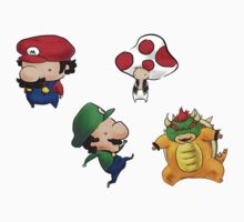 Mario Bros & Friends Set of 4 Stickers by yuntwothree