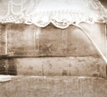 wedding hat and antique books at Caples House in Sepia Sticker