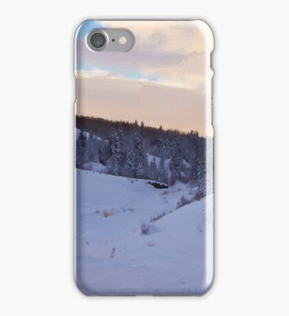 Winter Scene By The Creek - Digital Oil iPhone Case/Skin