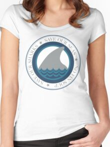 save our sharks Women's Fitted Scoop T-Shirt