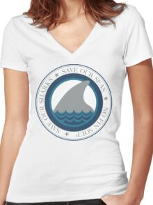 save our sharks Women's Fitted V-Neck T-Shirt