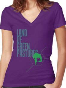 4 Lands - Green Women's Fitted V-Neck T-Shirt