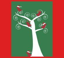 Christmas Birds in a Tree Kids Tee