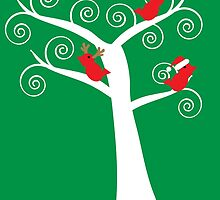 Christmas Birds in a Tree by ValeriesGallery