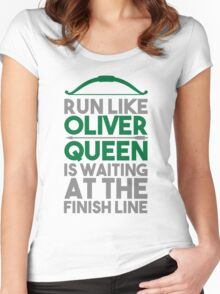 Run like Oliver Queen is waiting at the finish line Women's Fitted Scoop T-Shirt