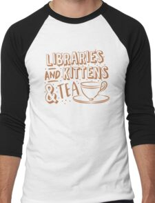 LIBRARIES and kittens and tea (just a few of my favourite things!) Men's Baseball ¾ T-Shirt