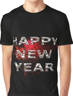 Happy New Year With Fireworks Graphic T-Shirt