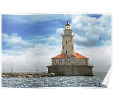 City - Chicago IL - Chicago harbor lighthouse Poster
